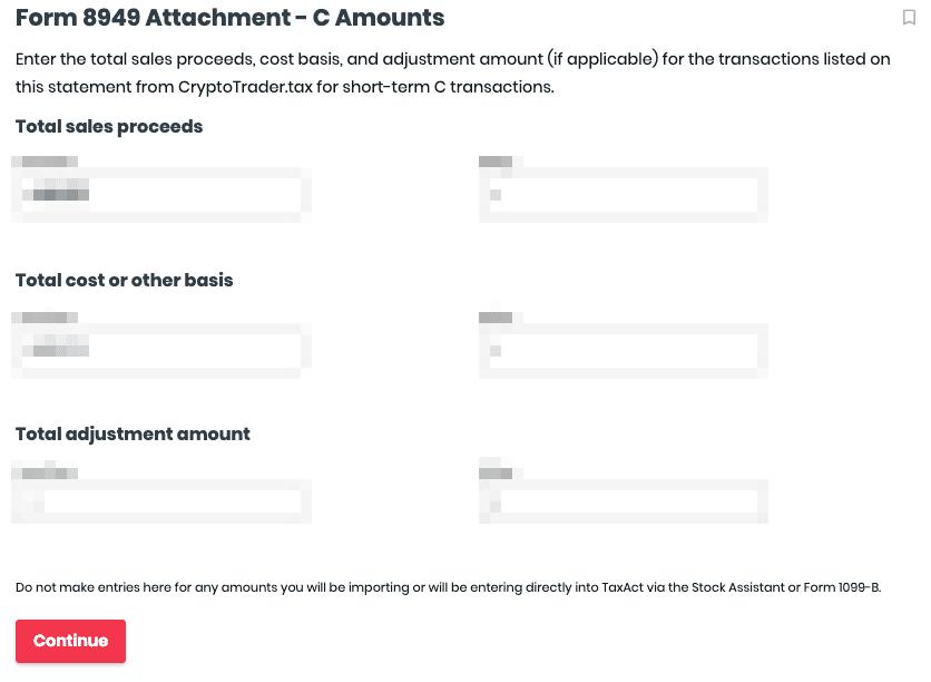 Form 8949 Attachment - C Amounts
